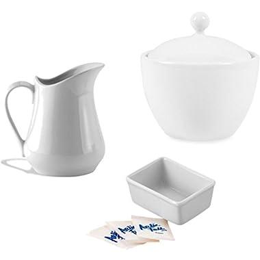 Porcelain White Creamer and Sugar Set Includes Creamer Dispenser Pitcher, Sugar Bowl with Lid, and Sweetener Sugar Packets Holder - Bundle of 3