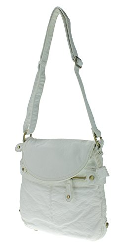 Proya Collection Soft Feel Stone-Wash Leather Crossbody Bag (White)