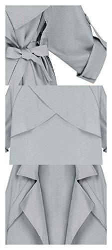 Estilo Windbreaker Unicolor Gabardina Elegantes Grande Otoño con De Primavera Cinturón Manga Especial Fashion Chaquetas Talla BoBoLily Larga Solapa Mujer Grau Abrigos OA4wqq0