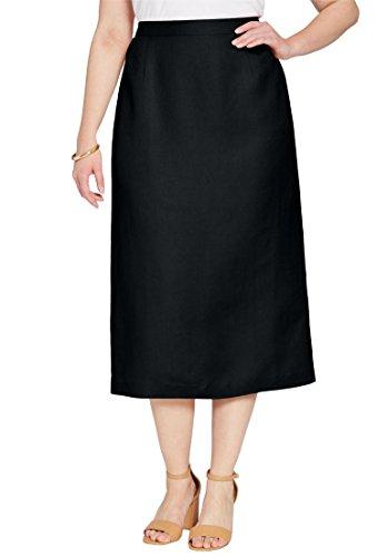Fully Lined Linen Skirt (Jessica London Women's Plus Size Linen-Blend Skirt Black,22)