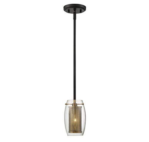 (Savoy House 7-9064-1-95 Dunbar 1-Light Mini Pendant in Warm Brass w/ Bronze accents)