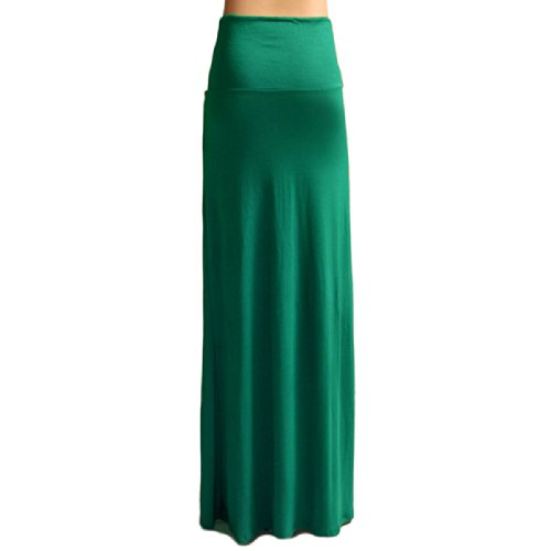 Azules Women's Rayon Span Maxi Skirt, Kelly Green, Small