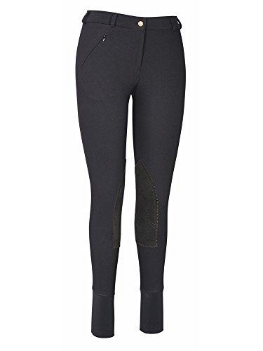 TuffRider Ladies Ribb Lowrise Knee Patch Regular Breeches Black 26 (Girls Low Rise Fleece Pants)