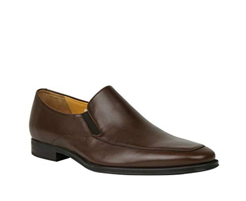 BALLY Brown Calf Leather Slip On Loafers with Script Logo Thor-131 (10.5D US)