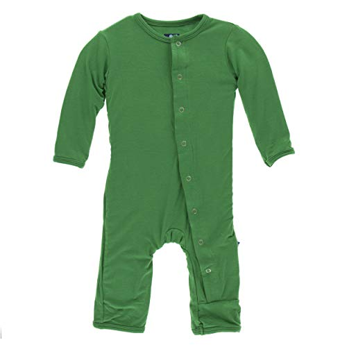 Girl Solid Coverall - Kickee Pants Little Boys and Girls Solid Coverall with Snaps - Fern, 0-3 Months