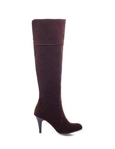 Redonda Trabajo Botas Semicuero Cn34 Oficina Burgundy Noche Tacón De Eu35 Xzz us5 Punta Uk3 Vestido Casual Mujer Stiletto Y negro Fiesta Zapatos SYfwqv