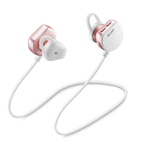 Bluetooth Headphones Wireless Earbuds with Mic - GLCON Waterproof Bluetooth Earphones for Sport Running Gym Workout - Beats Cell Phone Cordless Headset for iPhone Samsung LG Android (Rose Gold)