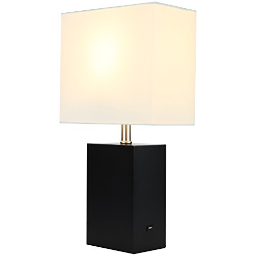 Brightech Mode LED USB Side Table & Desk Lamp - Modern Lamp for Bedroom, Living Room or Office with Ambient Lighting, Unique Lampshade & Useful USB Port Perfect Bedside Nightstand Light- Black