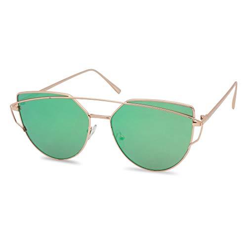 SunglassUP Women's Double Bridge Cross Bar Aviator Cat Eye Sunglasses Colored Flat Mirrored Cut-Out Shades (Gold Frame | ()