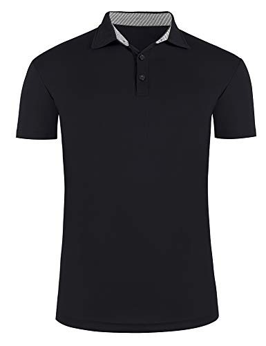 poriff Men's Casual Regular-Fit Quick-Dry Golf Polo Shirt Short Sleeve T Shirt Black L
