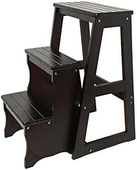 折りたたみステップ無垢材のはしごスツール多機能スツールシューズを変える3つのステップで椅子を折りたたみ(色:黒)150kg容量