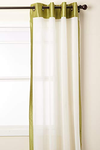 Stylemaster Soho 55 by 95-Inch Sheer Grommet Panel with Faux Silk Border, Avocado