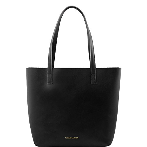 Tuscany Leather Ilaria Leather bag with removable main inside compartment Black by Tuscany Leather