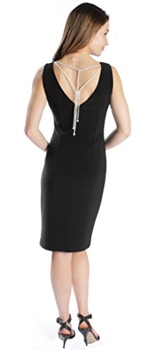 Joseph Ribkoff Black Open Back with Jewel Chain Accent Dress Style 171009 - Size 6 by Joseph Ribkoff (Image #3)