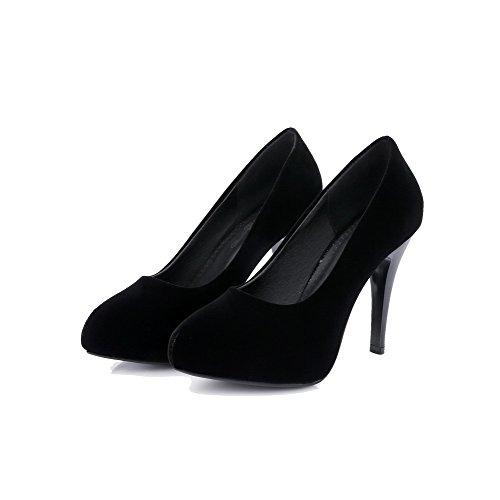 VogueZone009 Damen Nubukleder Rein Ziehen auf Spitz Zehe Stiletto Pumps Schuhe Schwarz