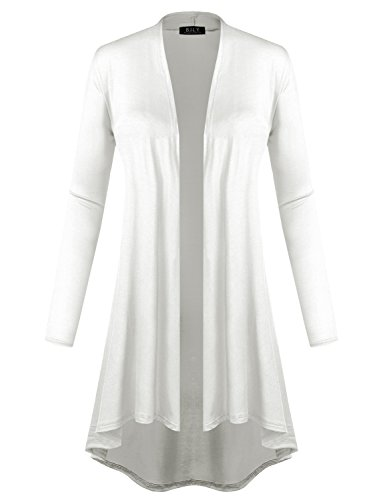 - BH B.I.L.Y USA Women's Open Front Lightweight Jersey Classic Long Sleeve Cardigan Ivory Large