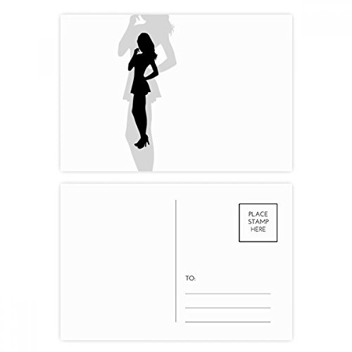 Hot Beautiful Woman Standing Silhouette Postcard Set Birthday Thanks Card Mailing Side 20pcs by DIYthinker