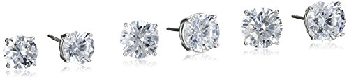 Platinum Plated Sterling Silver Round Cut Cubic Zirconia Stud Earrings Set (2 cttw, 3 cttw, 4 (Platinum Round Cut Three Prong)