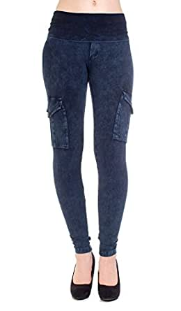 Hard Tail Countour rolldown skinny ankle leggings in navy mineral wash (small)