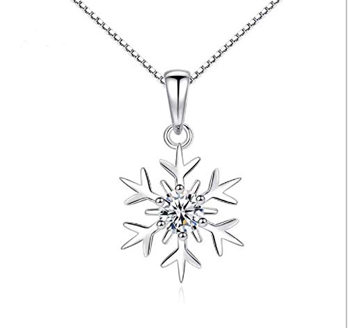 Weishu Women's 925 Sterling Silver Snowflake Pendant Necklace Female net red Diamond Snowflake Clavicle Necklace Simple Jewelry Birthday Gift for Girlfriend