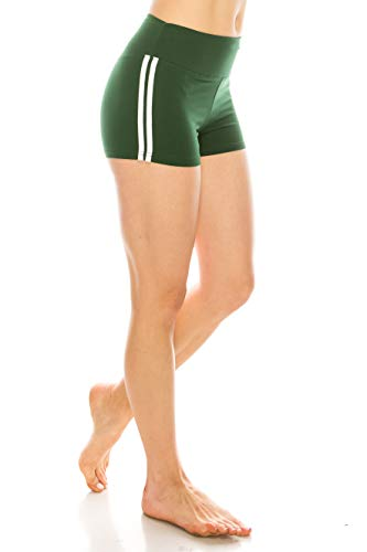 (ALWAYS Women Workout Yoga Shorts - Premium Buttery Soft Stretch Cheerleader Running Dance Volleyball Short Pants with Stripes Hunter Green White L)
