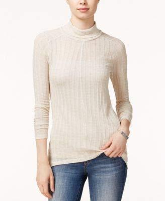 - Lucky Brand Womens Linen Blend Hi-Low Turtleneck Top Beige XL