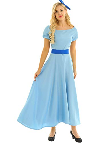 Women Peter Pan Costume (FEESHOW Adult Womens Princess Party Dress Peterpan Wendy Rachel Dress Cosplay Costume Light Blue)