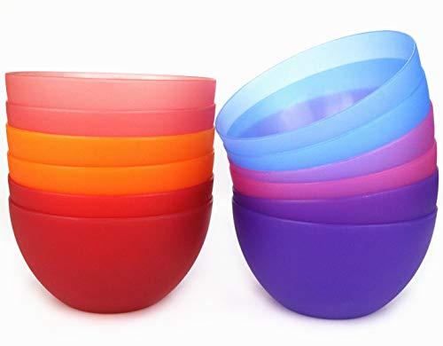 Plastic Bowls set of 12 Unbreakable and Reusable 32oz/6 inch Plastic Cereal/Soup/Salad Bowls in 6 Assorted Color | Dishwasher Safe,BPA Free ()