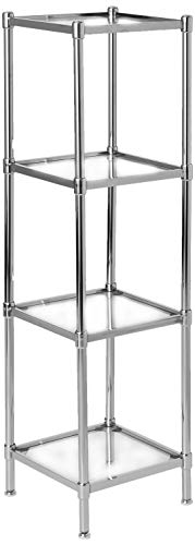 Organize It All 4 Tier Tempered Glass Freestanding Bathroom Storage Tower