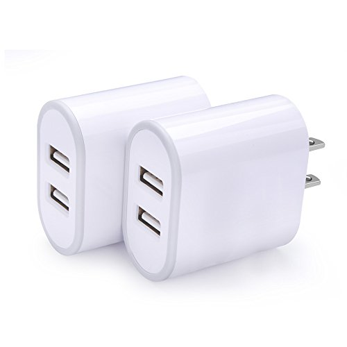Phone Charging Block, Disoper 2Pack Dual Port Universal USB Wall Charger Home Travel Plug Power Adapter for iPhone X/8/7, iPad Pro, Samsung Galaxy/Note, LG, Nexus, HTC, Google Pixel and More