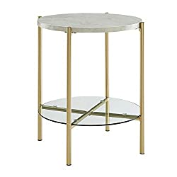 WE Furniture AZF20SRDSTMGD Metal Round Side End Table with Storage for Living Room Bedroom, 20, Faux White Marble Top with Gold Base