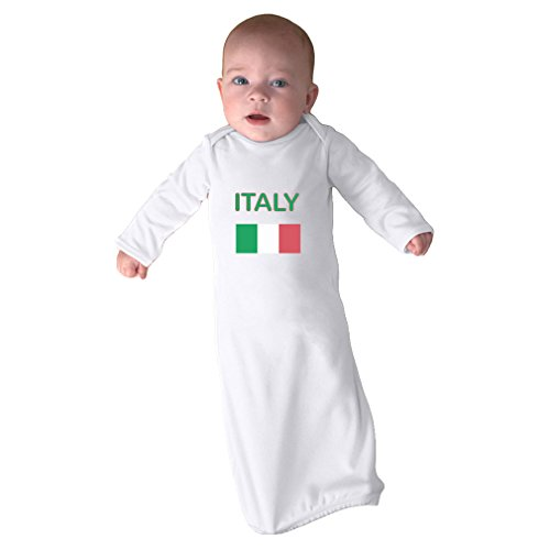 Cute Rascals Love Heart Italy Soccer Ball Soccer Infant Baby Combed Ring-Spun Cotton Sleeping Gown - White, Gown Only by Cute Rascals