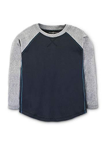 Black Organic Cotton Tee - Colored Organics Boys Ben LS Organic Baseball Shirt - Black/Heather Grey - 6