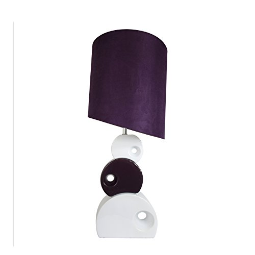 "Elegant Designs LT1038-PRP Stacked Circle Ceramic Table Lamp with Asymmetrical Shade, Purple, 30.31"" x 11.81"" x 11.81"""
