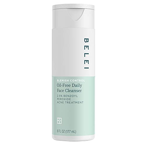 Belei Blemish Control Oil-Free Daily Face Cleanser, 2.5% Benzoyl Peroxide Acne Treatment, Dermatologist Tested, Paraben Free, 6 Fluid Ounce (177 mL)