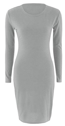 Sexy Women's Bodycon Domple Solid Long Sleeve Dress Dress Neck Round Slim Grey gC7w7Hx