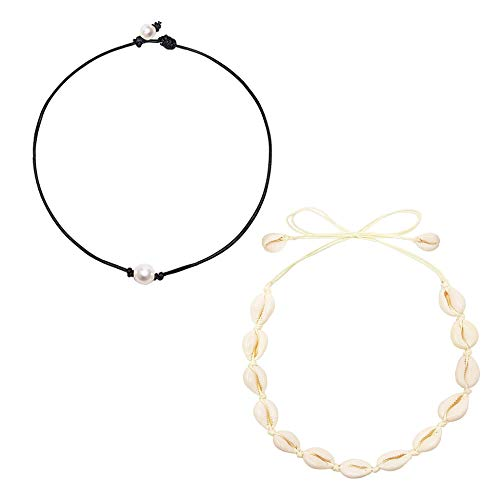 FURMA Cowrie Shell Choker Necklace for Women Hawaii Seashell Pearls Choker Necklace Statement Adjustable Cord Necklace Set