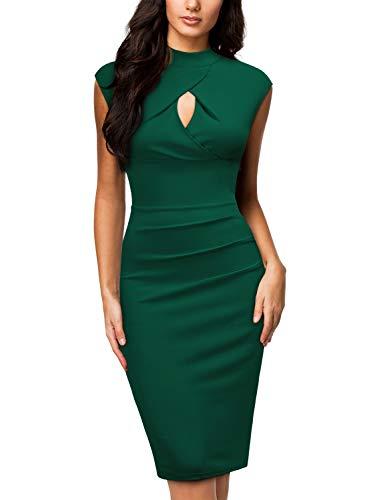 Miusol Women's Business Slim Style Ruffle Work Pencil Dress,Medium,C-Dark Green (Miusol Women Work Dresses)
