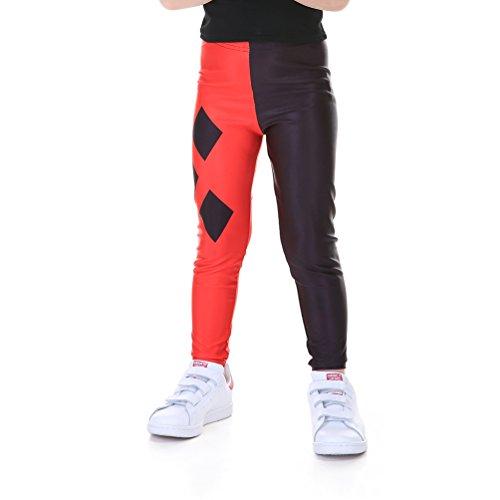 Lesubuy Black and Red Plaid Tartan Printed Kids Leggings for Girls Medium ()