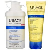 (Xemose by Uriage Eau Thermale Creme Lipid: Replenishing Anti-Irritation Cream 400ml & Free Cleansing Soothing Oil 200ml 400ml)