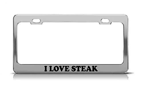 - Product Express I Love Steak Laser Engraved Steel Metal Funny Inspiring License Plate Frame Tag Cover