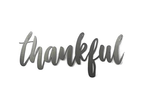 - Thankful Small Size Raw Steel Unpainted Word Art