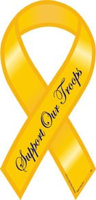 "Support Our Troops - 4"" x 8"" Yellow Ribbon Magnet"