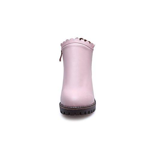 BalaMasa Womens Comfort Slip-Resistant Retro Urethane Boots ABL10055 Pink jYhYN8tHW