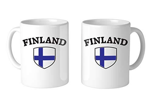 (Amdesco Finland Shield Finnish Flag 11 Oz White Coffee Mug (2 Mugs))