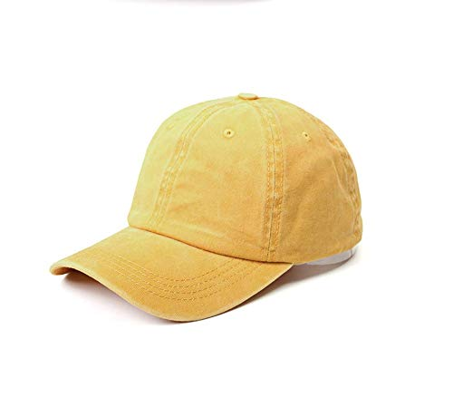 (NeuFashion Ponytail Unconstructed Distressed Washed Dad Hat Messy High Bun Ponycaps Plain Baseball Cap Yellow)