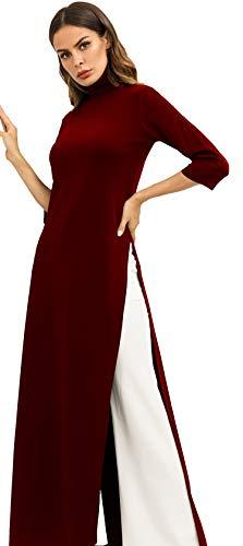e266f8eb HZSONNE Women's Long Sleeve Turtleneck Bodycon Maxi Dress Side Slit Long  Tunic Knitwear Robe Jupe
