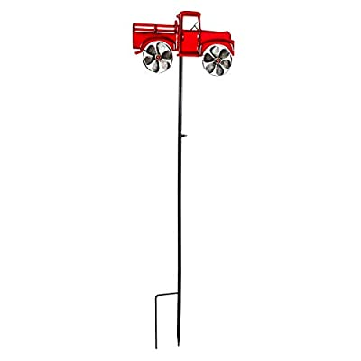Evergreen Garden Red Truck Metal Garden Stake Kinetic Wind Spinner : Garden & Outdoor