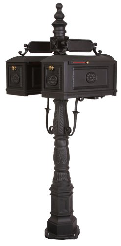 Victorian Barcelona Decorative Cast Aluminum DOUBLE Better Box Mailbox Black