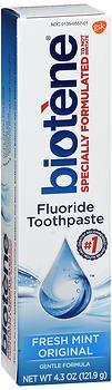 Biotene Gentle Formula Fluoride Toothpaste, Fresh Mint 4.3 oz ( Pack of  2)